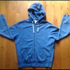 Polo Ralph Lauren Denim Blue Zip Hoodie Size Large